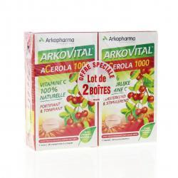 Acérola 1000 vitamine c naturelle lot de 2 boites de 30 comprimés à croquer Lot de 2 boîtes de 30 comprimés à croquer