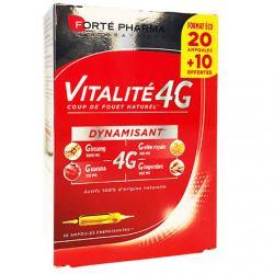Vitalité 4G Dynamisant unidose 10 ml - 20 ampoules buvables + 10 offertes