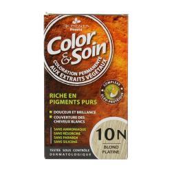 Color & soin n°10N blond platine flacon 60ml de teinture + flacon 60ml de fixateur + un sachet 15ml de baume capillaire + gants
