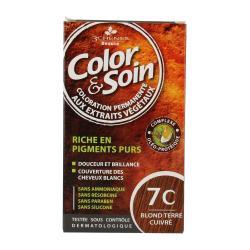 Color & soin n°7C blond terre cuivré flacon 60 ml de teinture + flacon 60 ml de fixateur + un sachet de 15 ml de baume capillaire + gants