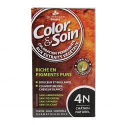 Color & soin n°4N châtain naturel flacon 60ml de teinture + flacon 60ml de fixateur + un sachet 15ml de baume capillaire + gants