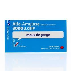BIOGARAN Alfa-amylase 3 000 U.CEIP Boîte de 18 comprimés