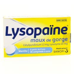 Lysopaïne maux de gorge cetylpyridinium lysozyme sans sucre Boîte de 36 comprimés