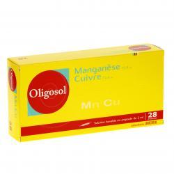 Manganèse-cuivre oligosol Boîte de 28 ampoules