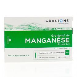 Granions de manganèse 0,1 mg/2 ml, Boîte de 30 ampoules