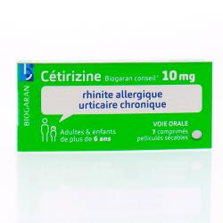 BIOGARAN Cétirizine 10mg Boîte de 7 comprimés