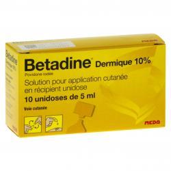 Bétadine dermique 10 % Boîte de 10 récipients unidoses