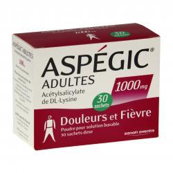 Aspégic adultes 1000 mg Boîte de 30 sachets-doses