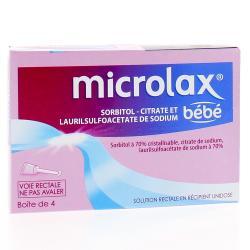 Microlax bébé sorbitol citrate et laurilsulfoacétate de sodium Boîte de 4 récipients unidoses