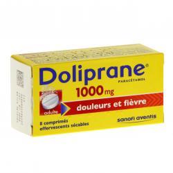 Doliprane 1000 mg Tube de 8 comprimés effervescents