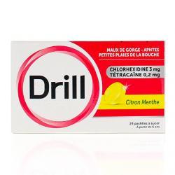 DRILL Citron menthe Boîte de 24 pastilles
