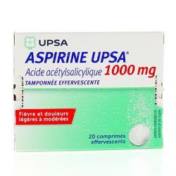 Aspirine upsa tamponnée effervescente 1000 mg 2 Tubes de 10 comprimés