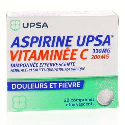 Aspirine upsa vitaminée c tamponnée effervescente 2 Tubes de 10 comprimés