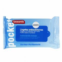 Pocket, lingettes antibactériennes douceur mains & surfaces Petit modèle (12 lingettes)