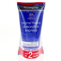 Crème mains hydratation et confort absorption rapide 2x75ml