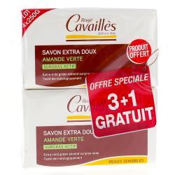 Savon Surgras Extra Doux Amande Verte 250g Lot de 3 + 1 gratuit